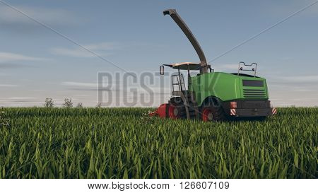 3d rendering of a grass combine