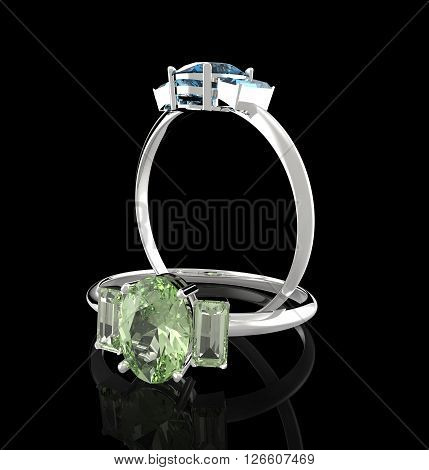 Diamond Rings. Isolated on a black background. Fashion jewelry. 3d digitally rendered illustration