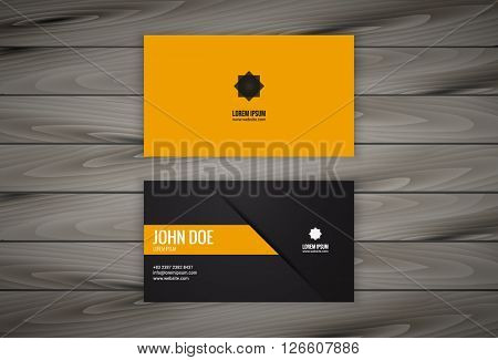 Minimal modern business card design with wooden background. Easy to edit, manipulate, re-size or colorize.