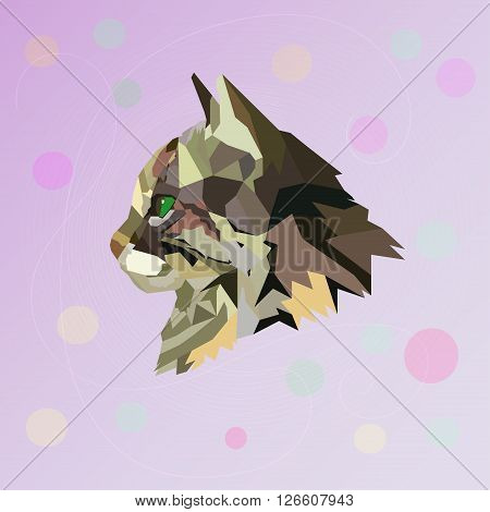 Abstract polygonal cat. Vector illustration. Polygonal image.