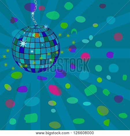 Vector abstract illustration, star disco sphere. Nightclub