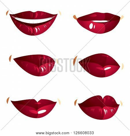 Set Of Vector Sexy Female Red Lips Expressing Different Emotions And Isolated On White Background. F