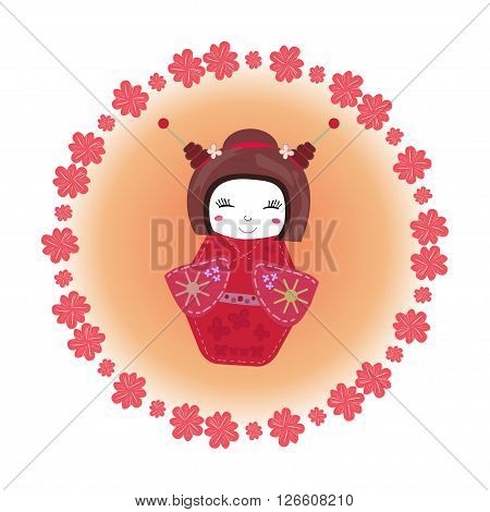 Kokeshi doll set in kimono. Japanese traditional toy