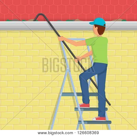 Flat style illustration of a man on a ladder cleaning the rain gutter of the house with a telescopic device.