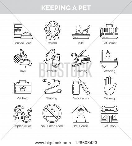 A set of thin line black icons on white background for various aspects of keeping pets at home. Vet help, vaccination, training, grooming and other