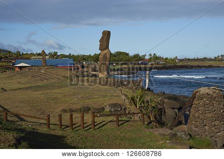 Moai statue on the coast of Rapa Nui (Easter Island) in the capital Hanga Roa.