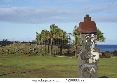 Ancient Moai statues on the coast of Rapa Nui (Easter Island)