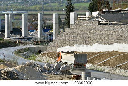Dolny Hricov Slovakia - April 13 2016: Slovak highway labeled