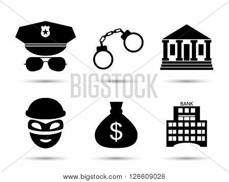 Criminal and prison vector black icons set. Policeman icon. Thief icon. Bank and court icons