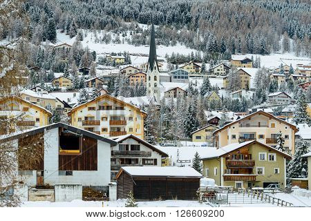 The village of Celerina near St Moritz in the Engadin valley.