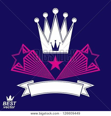 Imperial stylized vector symbol monarch element. 3d crown with flying stars and curvy ribbon. Clear eps8 coat of arms.