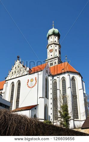 The abbey of Saint Ulrich and Saint Afra (16th century) of the old city in Augsburg Bavaria Germany