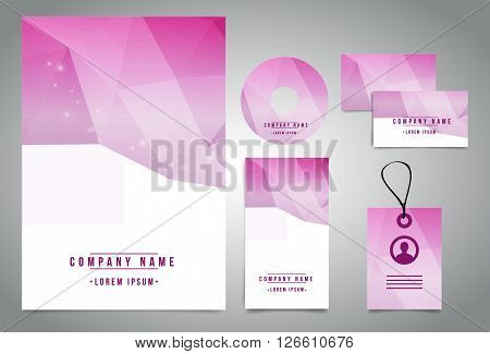 Professional modern design identity set. Identity set design with geometric elements. Easy to manipulate, re-size or colorize.