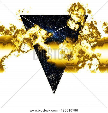 galaxy geometry  dream scape, triangle abstraction with liquid golden clouds
