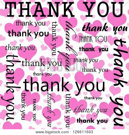 Thank You Design with Pink and White Hearts Tile Pattern Repeat Background that is seamless and repeats