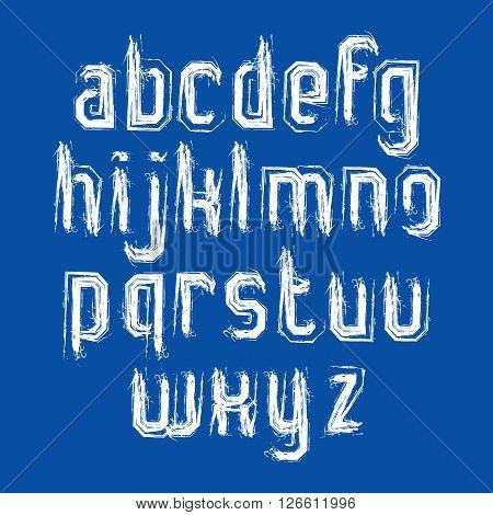 Vector stylish brush lowercase letters handwritten font white typeset on blue background.