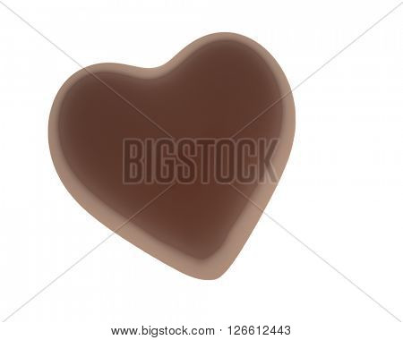 Heart shaped chocolate isolated on white background 3D rendering