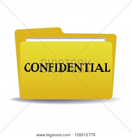 Isolated yellow folder with the text confidential written with black letters