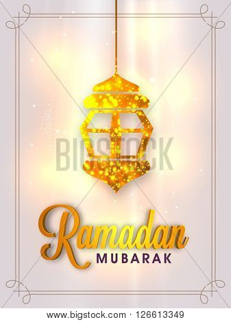Glossy Golden Lamp decorated, Pamphlet, Banner or Flyer design for Islamic Holy Month of Fasting, Ramadan Mubarak celebration.