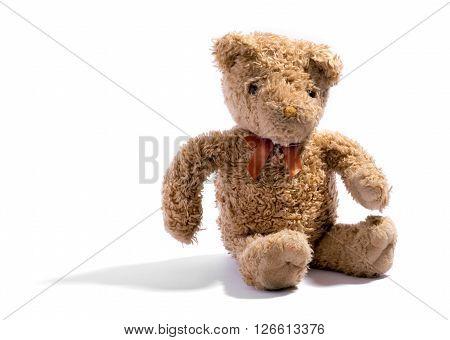Cute Little Soft Stuffed Teddy Bear On White
