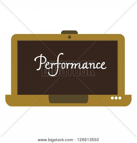 Isolated brown laptop with the word performance written on its screen