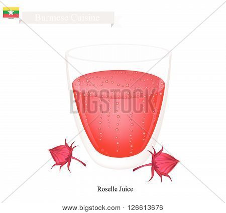 Burmese Cuisine Traditional Roselle Fruit Juice. One of The Most Popular Drink in Myanmar.