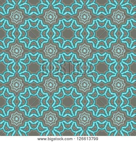 flowers and geometric patterns seamless vector illustration. Tribal background fluffy edges of the pattern.