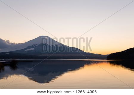 Mountain Fuji and lake at evening