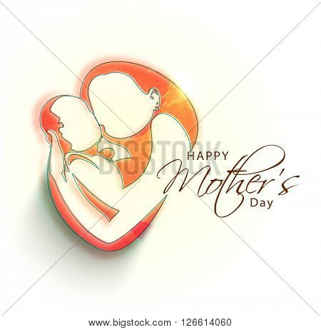 Creative illustration of a woman loving her child, Concept for Happy Mother's Day celebration.