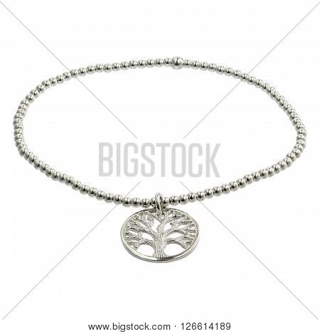 Silver bracelets with zirconium on white background