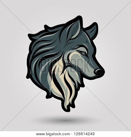green wolf head design on gray background