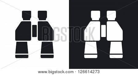 Binoculars icon vector. Two-tone version on black and white background