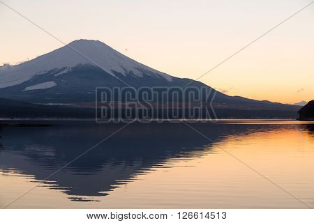 Mountain Fuji at evening