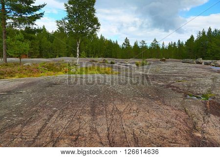 Landscape of Zalavruga - Rock paintings petroglyphs in Karelia