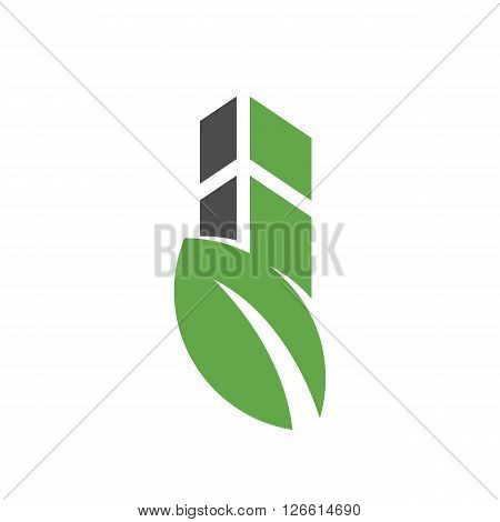 building with leaf logo on white background - stock vector
