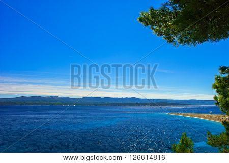 beautiful seascape in Adriatic with the Zlatni rat or Golden cape beach view