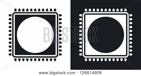 Chip icon vector. Two-tone version on black and white background