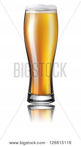Glass Of Beer. Lager. Isolated On White Background. Vector Illustration.