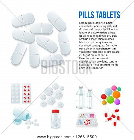 Large oval pills, different pills and white and color on a white background, vector illustration with a set of drugs, colorful products. Bottles and boxes with colored vitamins. Things to human health