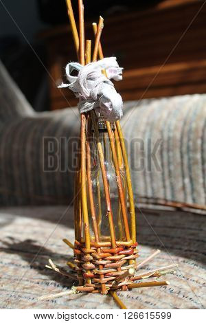 weave glass bottle of flexible rods  for save liquid and for save vial