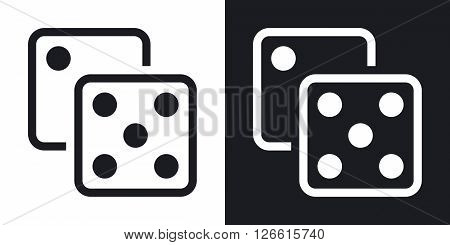 Dice icon stock vector. Two-tone version on black and white background
