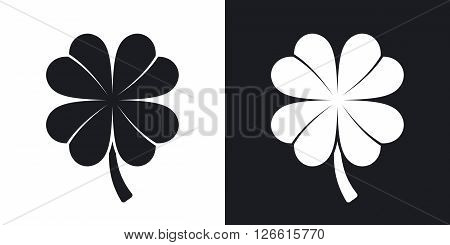 Four-leaf clover icon vector. Two-tone version on black and white background