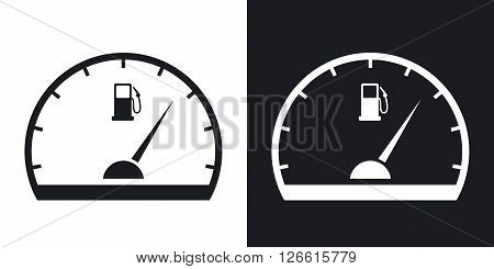 Fuel gauge icon vector. Two-tone version on black and white background