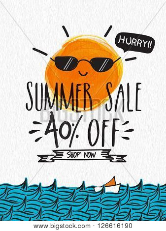 Summer Sale Poster, Sale Banner, Sale Flyer, 40% Discount Offer, Creative vector illustration.