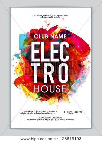 Colorful abstract design decorated, Musical Party Template, Dance Party Flyer, Night Party Banner or Club Invitation presentation with date and time details.