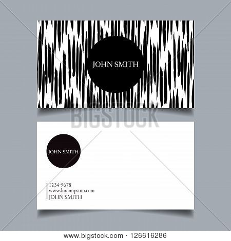 Template business card editable neat black-and-white background vertical discontinuous rough brush strokes card-vector illustration