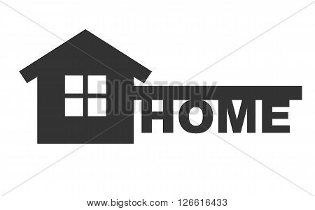 Symbol of home like key and text - home. Vector concept house symbol. House in black color isolated on white background.