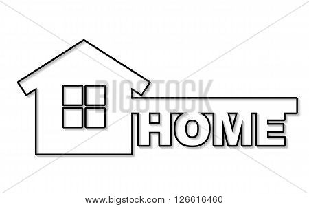 Symbol of home like key and text - home. Vector concept house symbol. Illustration in thin line style with shadow.