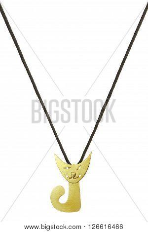Yellow cat pendant on silk thread on white background