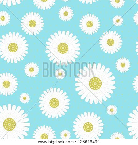 Seamless pattern with camomiles on blue background -vector illustration